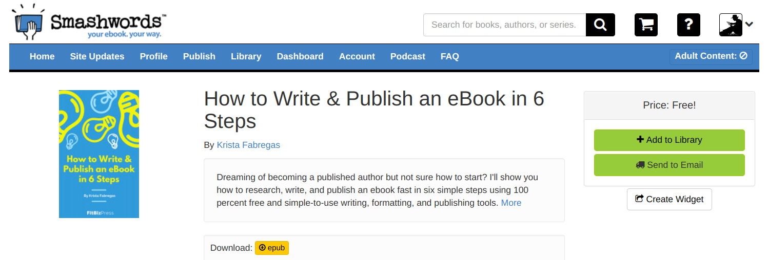Kindle Direct Publishing vs Smashwords review -- Smashwords details