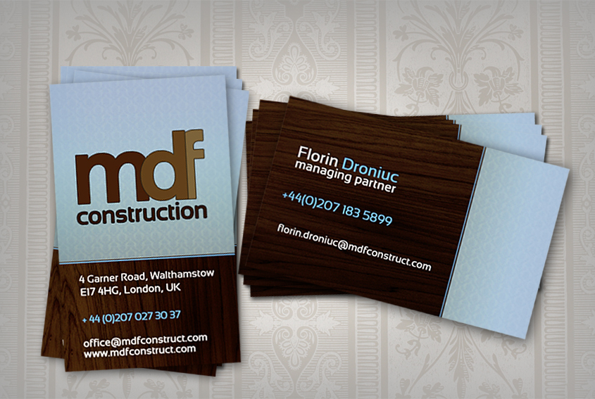 Wood Grain Background - construction business cards