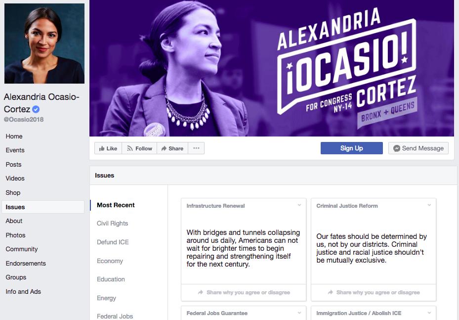 Alexandria Ocasio-Cortez - facebook page template