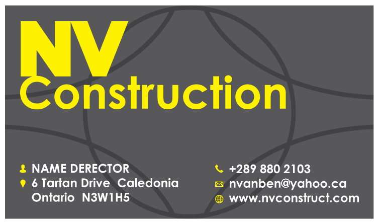 NV Construction - construction business cards