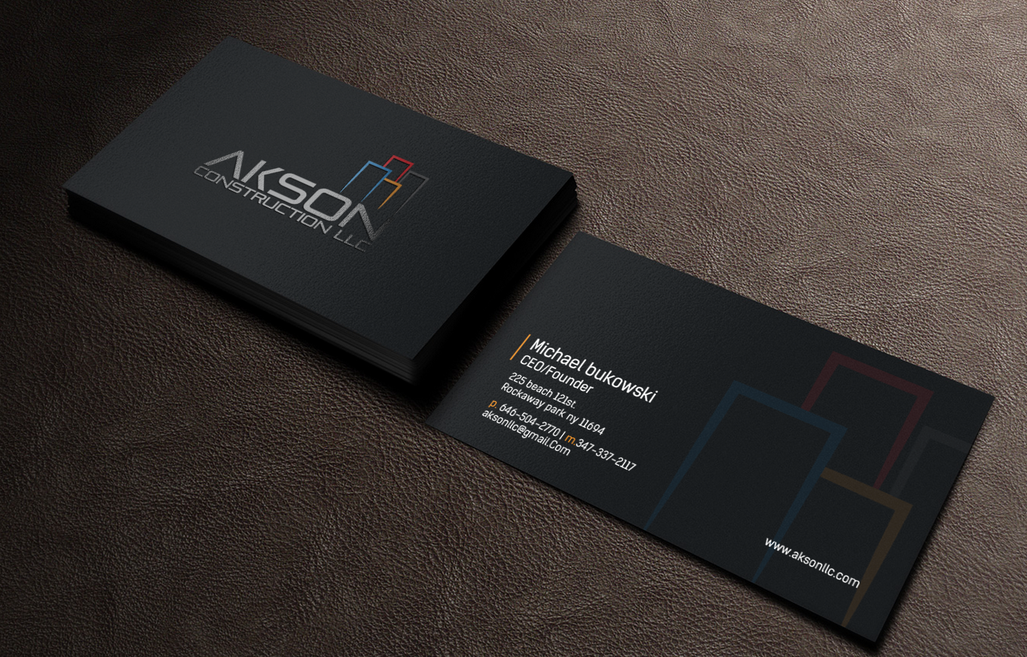 Minimal Black - construction business cards