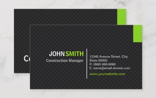 Modern Twill Grid - construction business cards