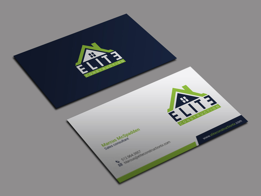 Clean Layout with Accent Colors - construction business cards