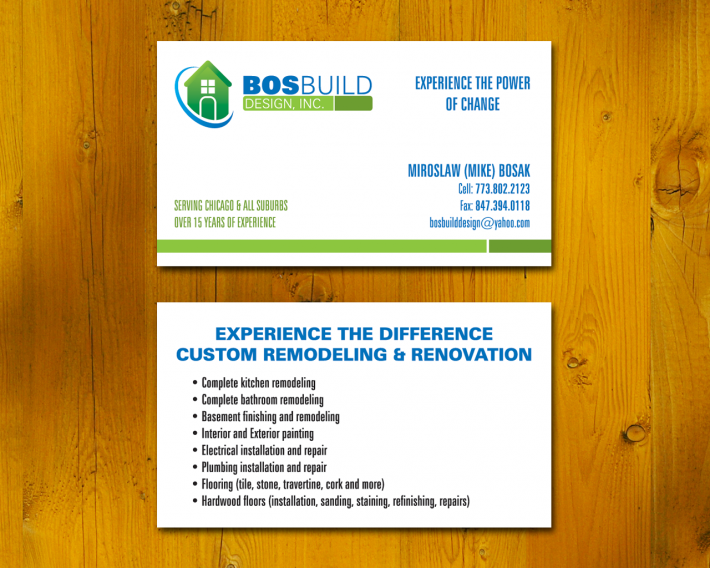 Summary of Services - construction business cards