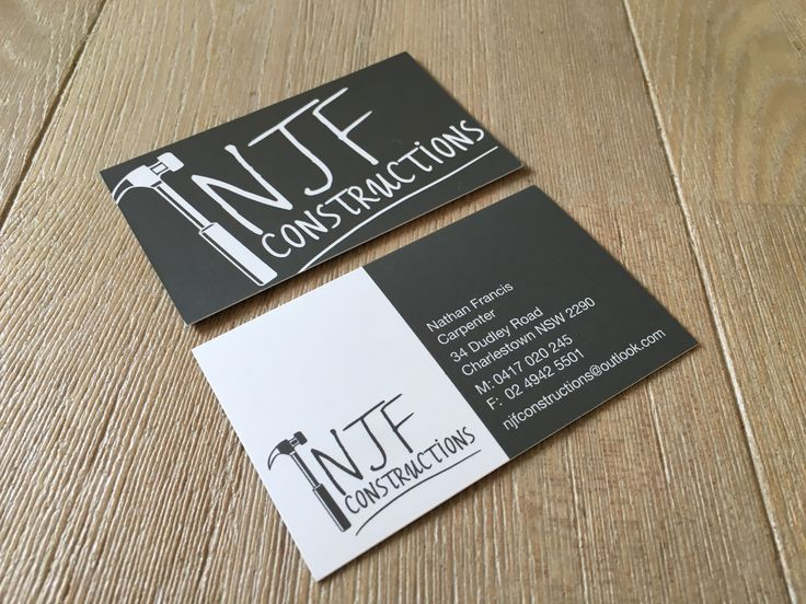 Chalkboard Illustration - construction business cards