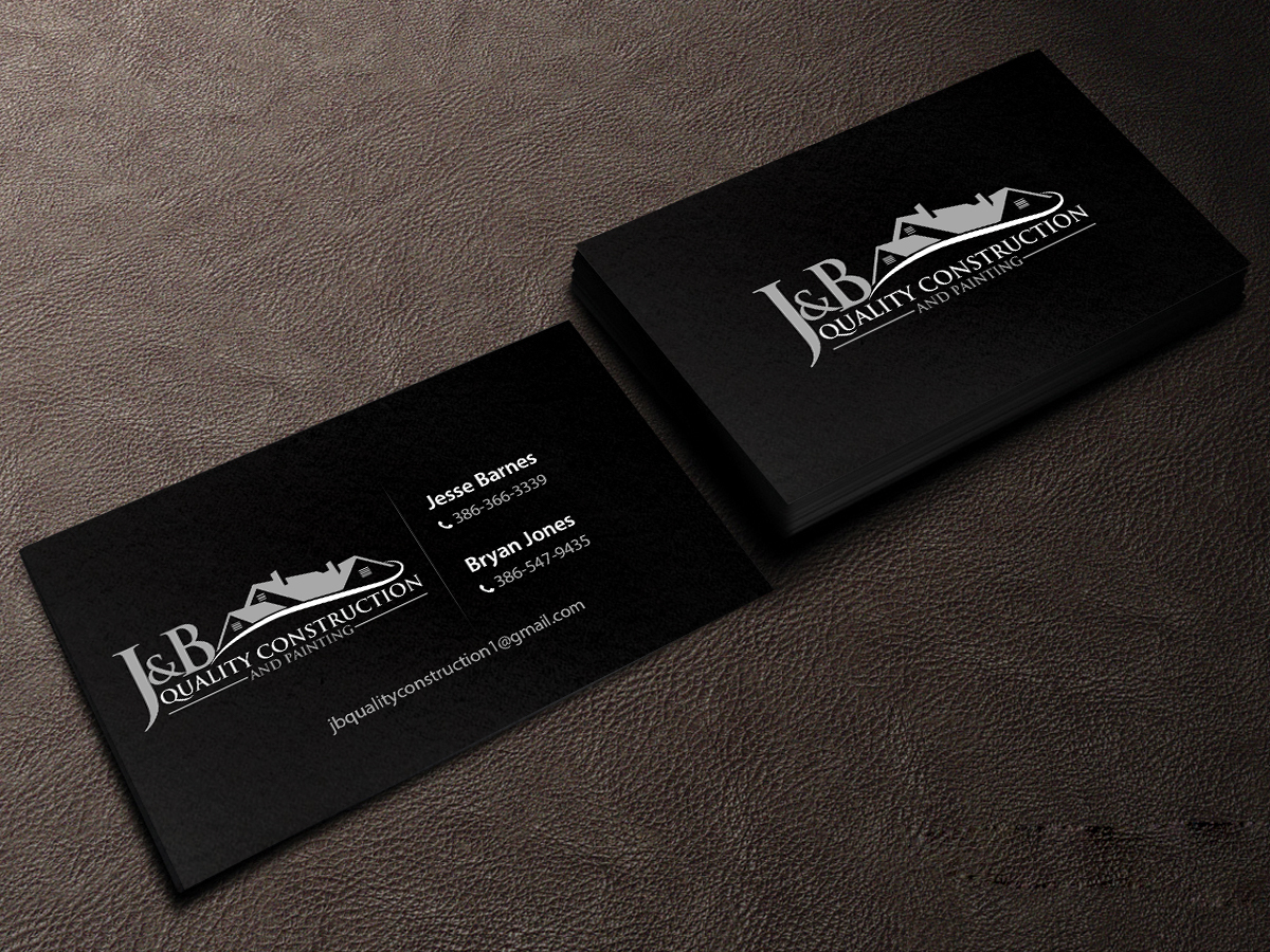 Glossy White on Black - construction business cards