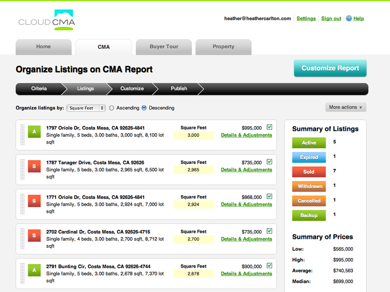 Cloud CMA (Comparative Market Analysis Generation) - real estate agency software
