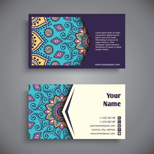 Colorful Pattern Print - graphic designer business cards