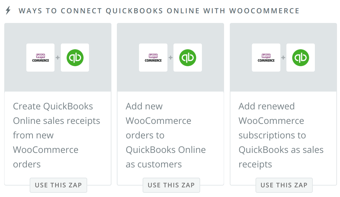 WooCommerce QuickBooks integration with Zapier -- options