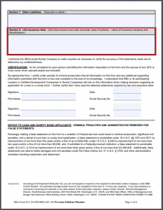 sba form 413 with section 8: life insurance held highlighted