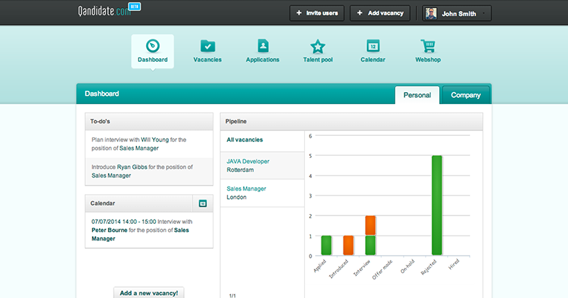 Qandidate's dashboard - applicant tracking systems free