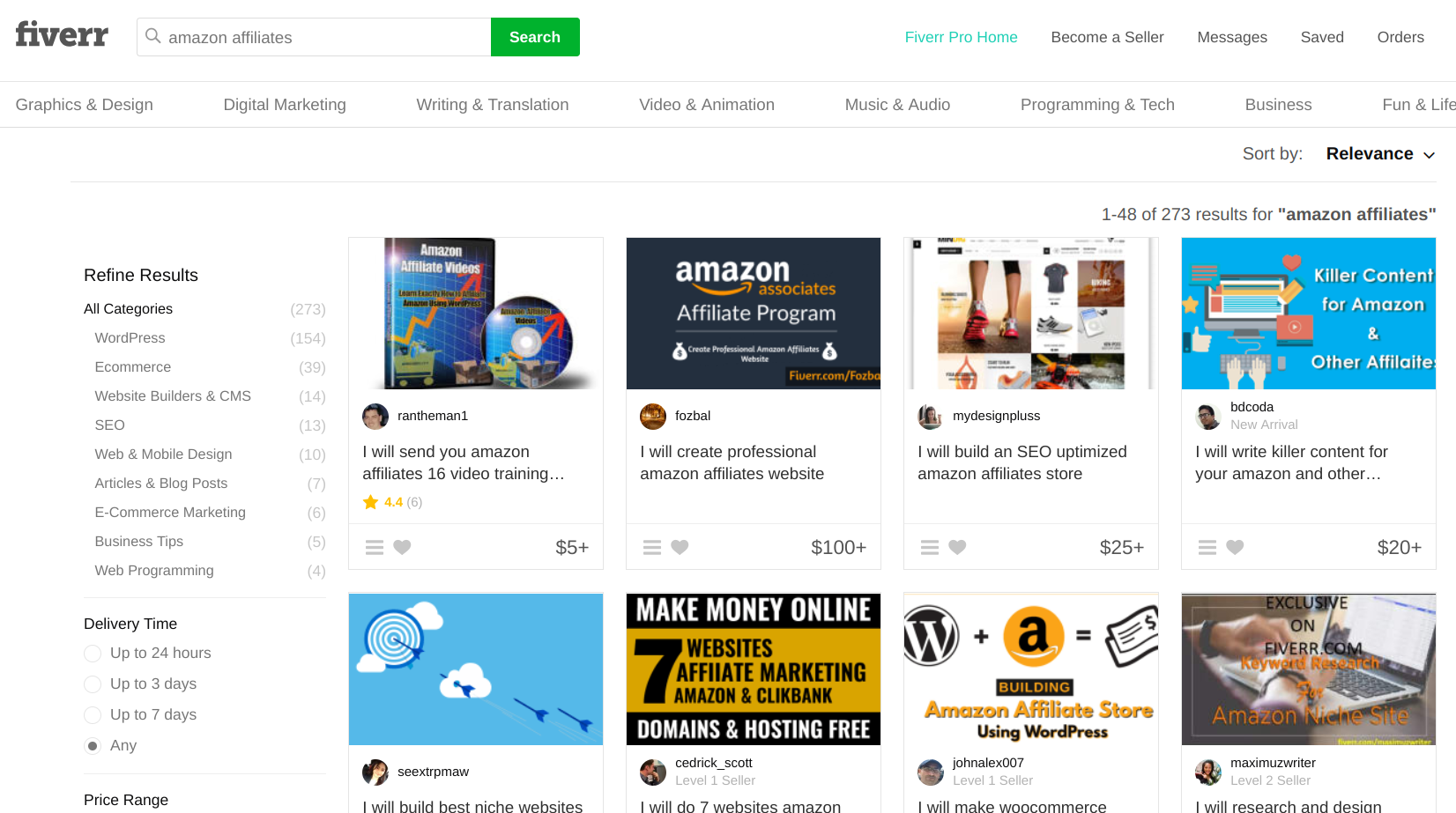 Amazon affiliate program -- Fiverr freelance pros