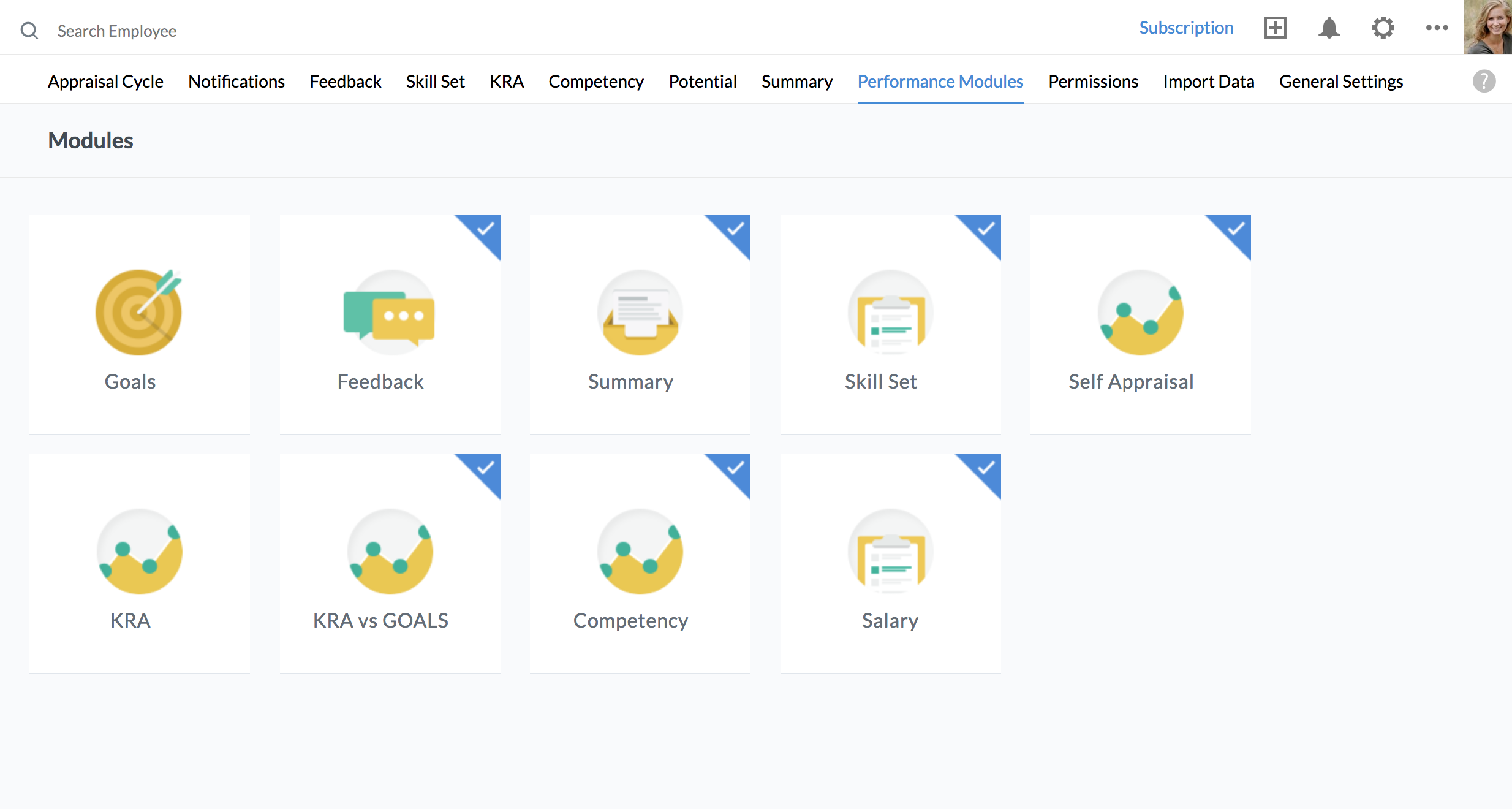 Zoho People performance modules