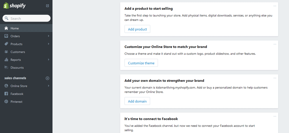 top ecommerce platforms - Shopify dashboard