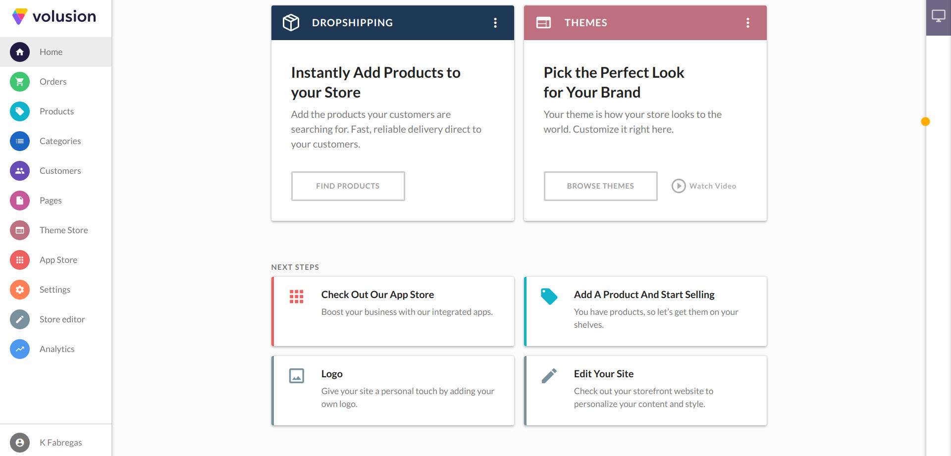 top ecommerce platforms -- Volusion's quick setup wizard