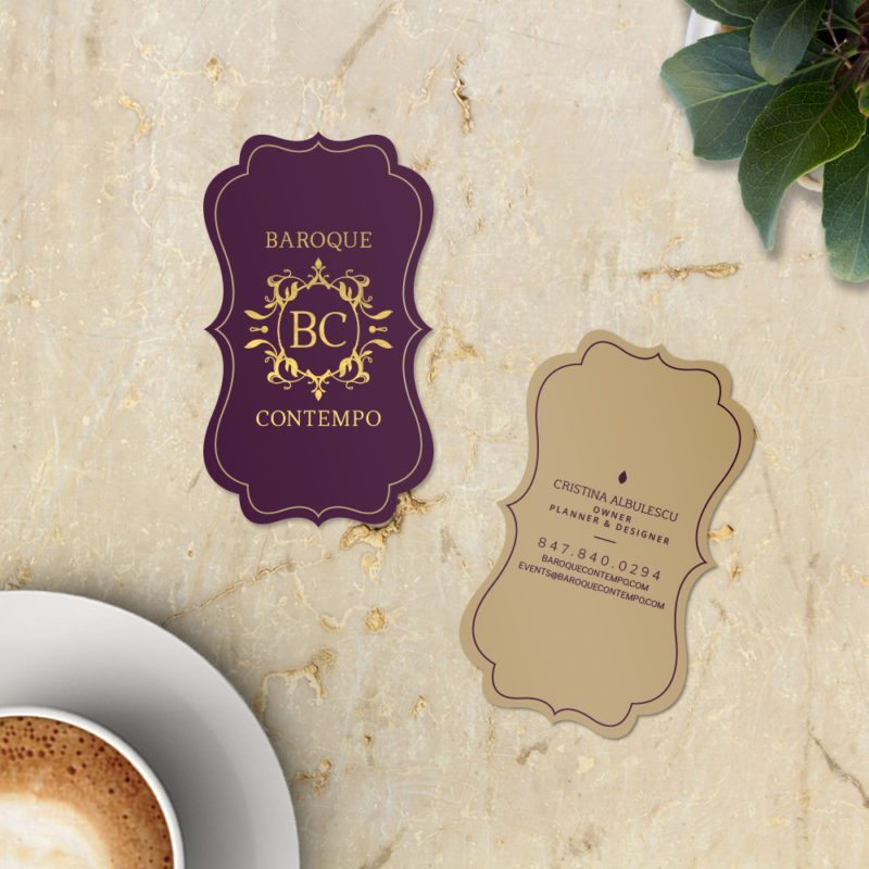 Elegant Die Cut - event planner business cards