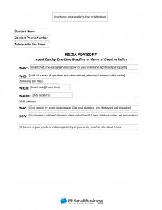 media advisory