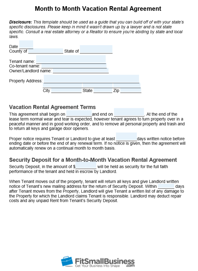 Free Month To Month Rental Agreement Template