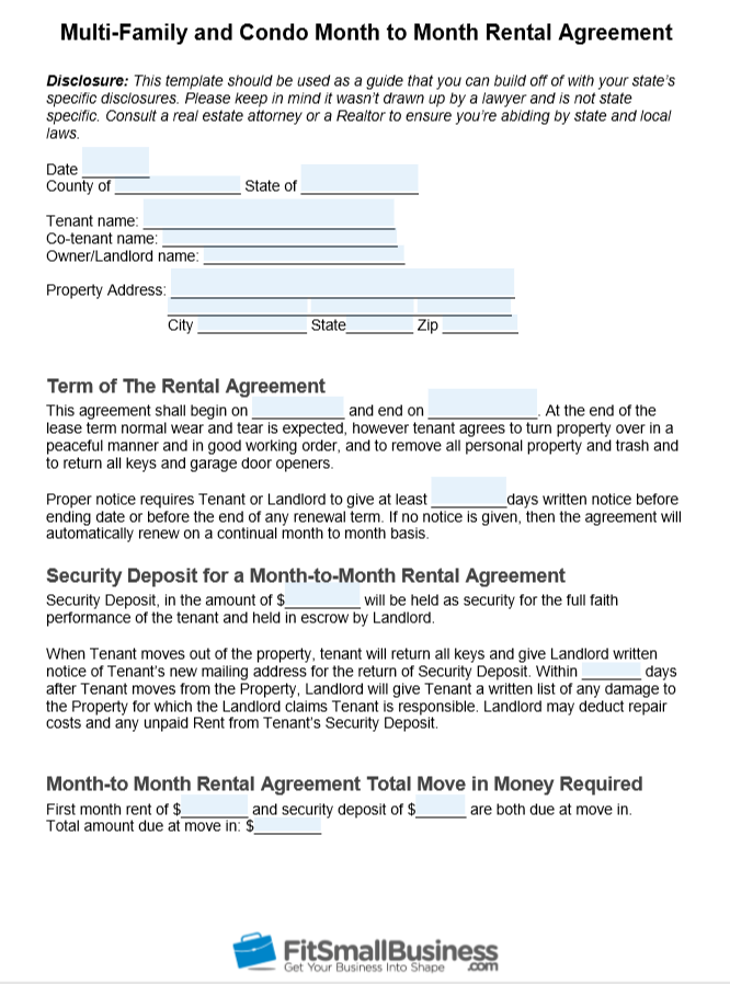 Month To Month Lease >> Free Month To Month Rental Agreement Template
