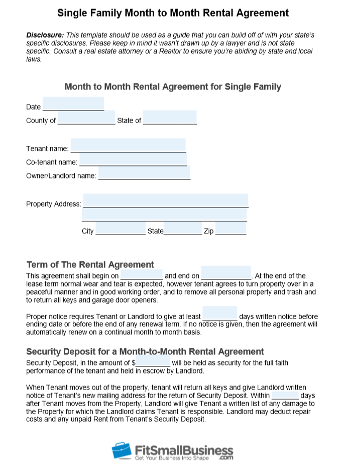 Free Month-to-Month Rental Agreement Template