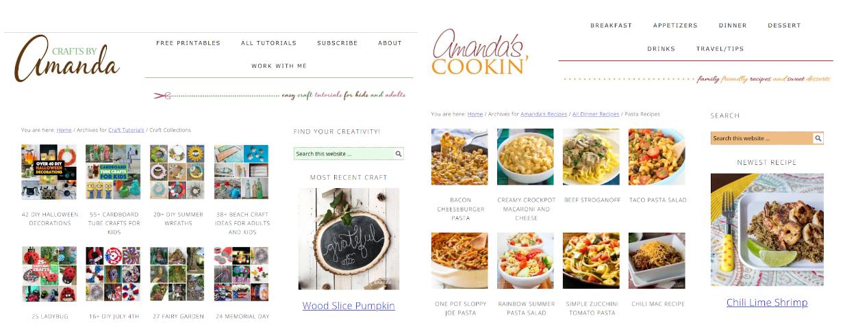 Crafts by Amanda and Amanda's Cookin' - niche market