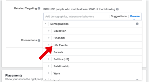 Target Life Events on Facebook Ads - facebook ad targeting