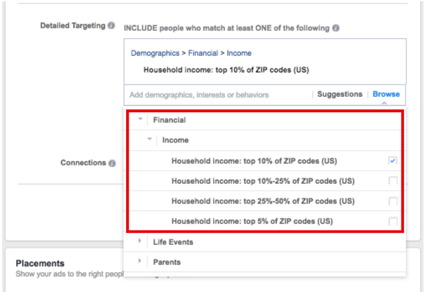 Select Income-Level to Target on Facebook - facebook ad targeting