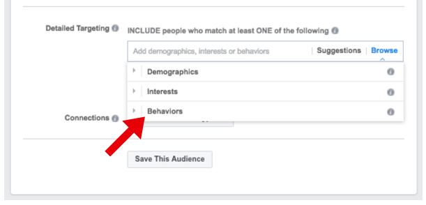 Select Behaviors From the Detailed Targeting Options - facebook ad targeting
