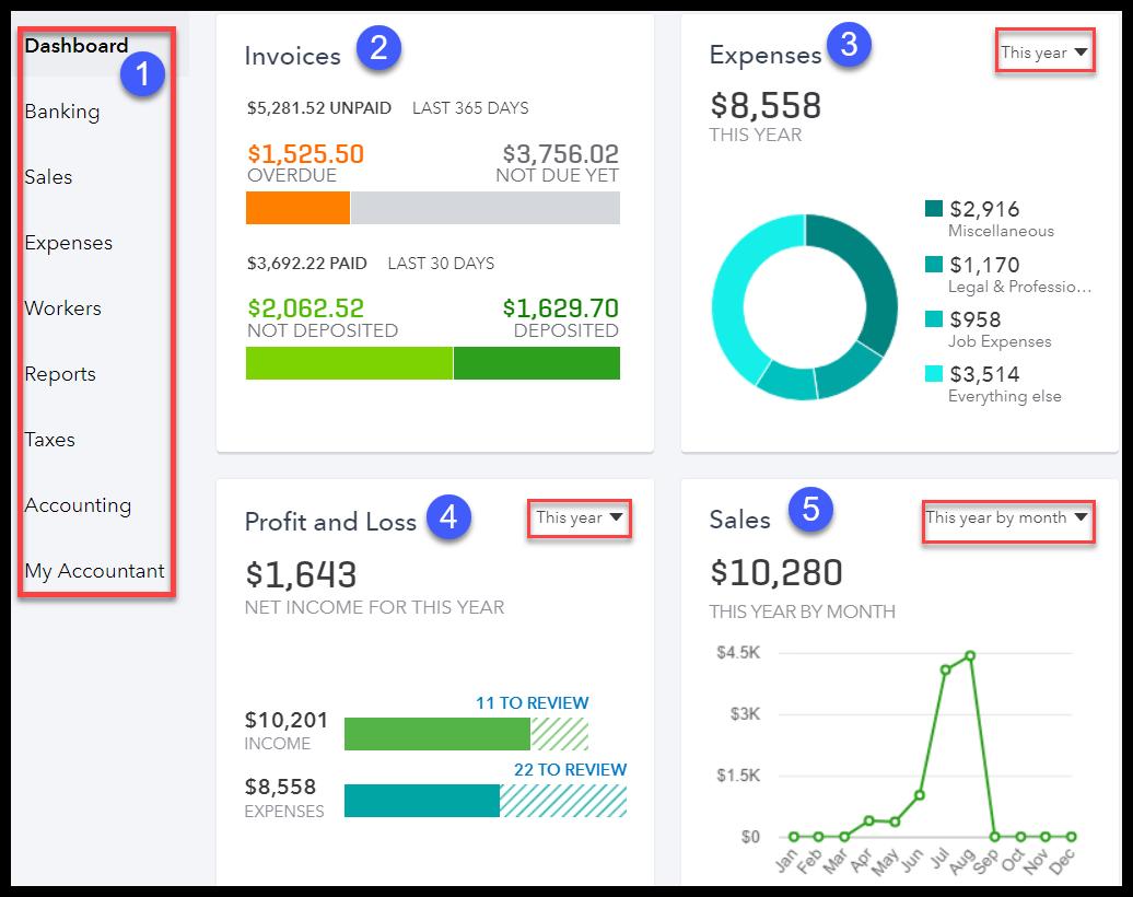 QuickBooks Online Dashboard - xero vs quickbooks