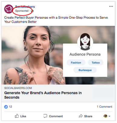 Facebook Sponsored Post Example- facebook sponsored posts
