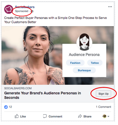 Facebook Ad Example with Sign Up CTA - facebook sponsored posts