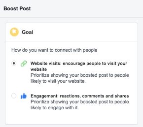 Select Goal of Facebook Sponsored Post - facebook sponsored posts
