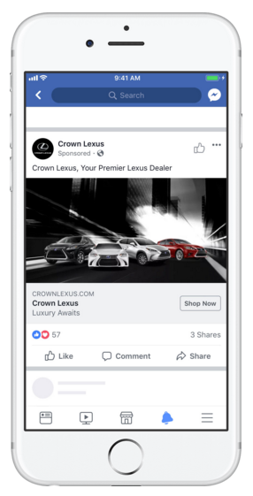 Single Image Ad on Mobile Facebook Feed - facebook ad specs
