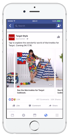 Carousel Ad on Mobile Facebook Feed - facebook ad specs