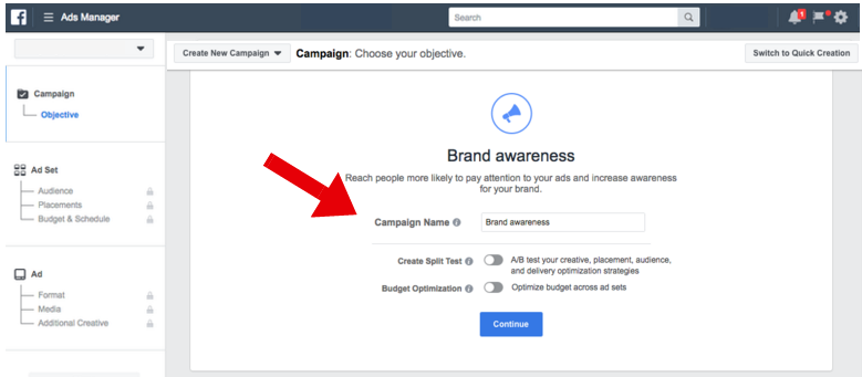 New Facebook Ad Campaign Setup - facebook ad specs