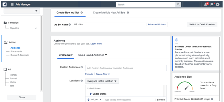 Facebook Ad Sets Settings for New Campaign Creation - facebook ad specs