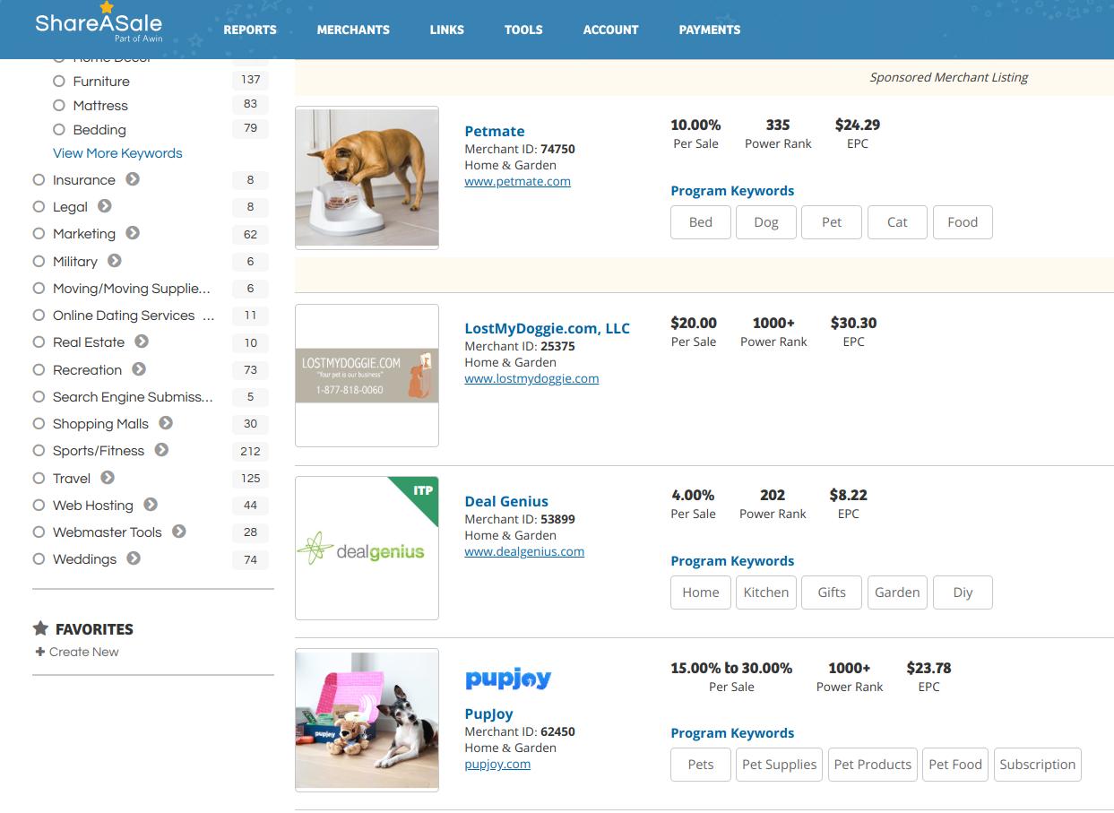 ShareASale - niche market