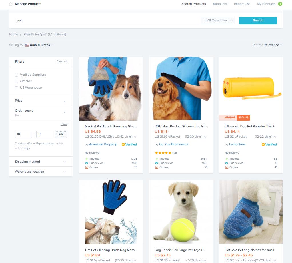 Dropship Marketplace Top-Seller Lists - niche market