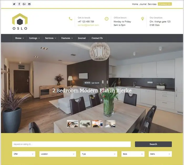 Oslo real estate wordpress themes
