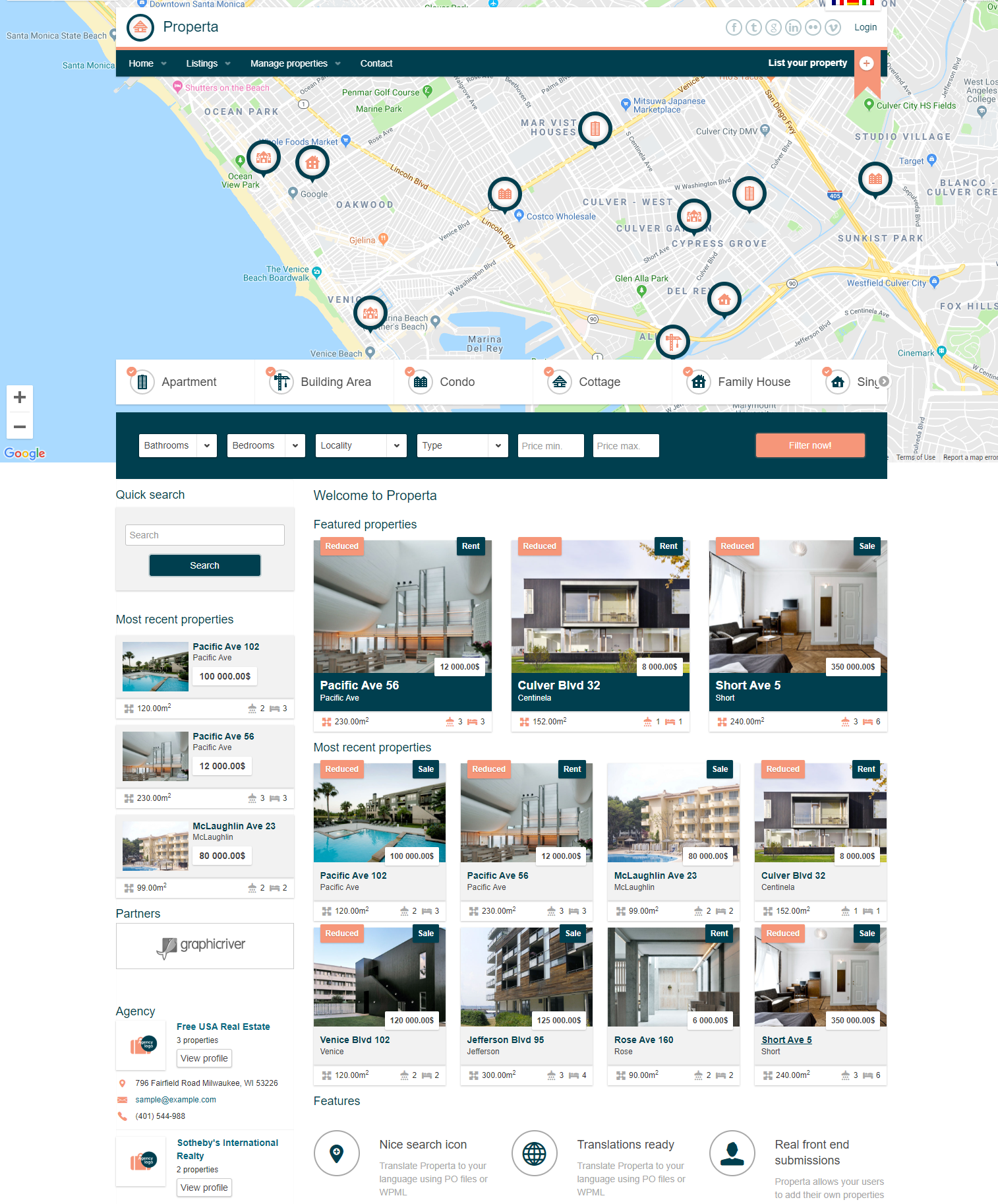 Properta real estate wordpress themes