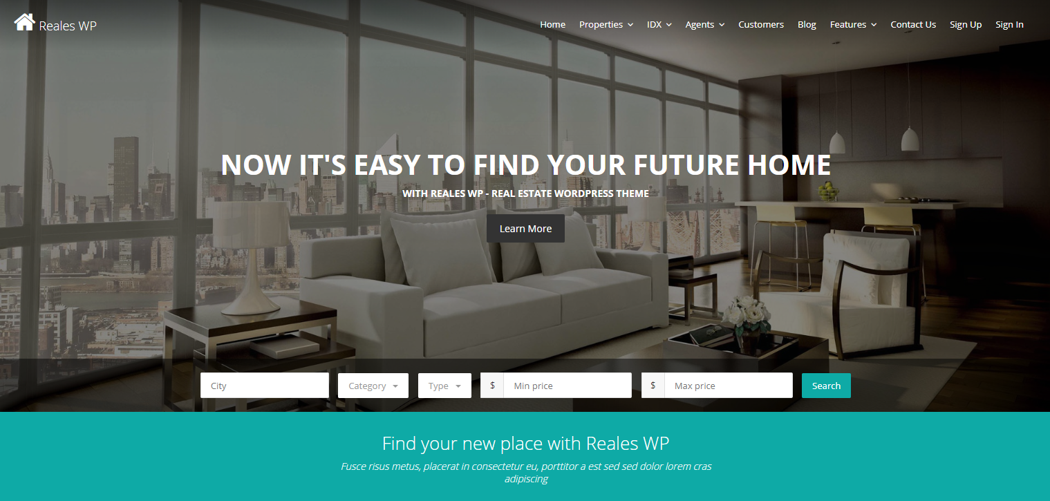 Reales real estate wordpress themes