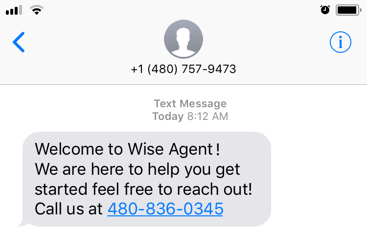 A welcome text from Wise Agent