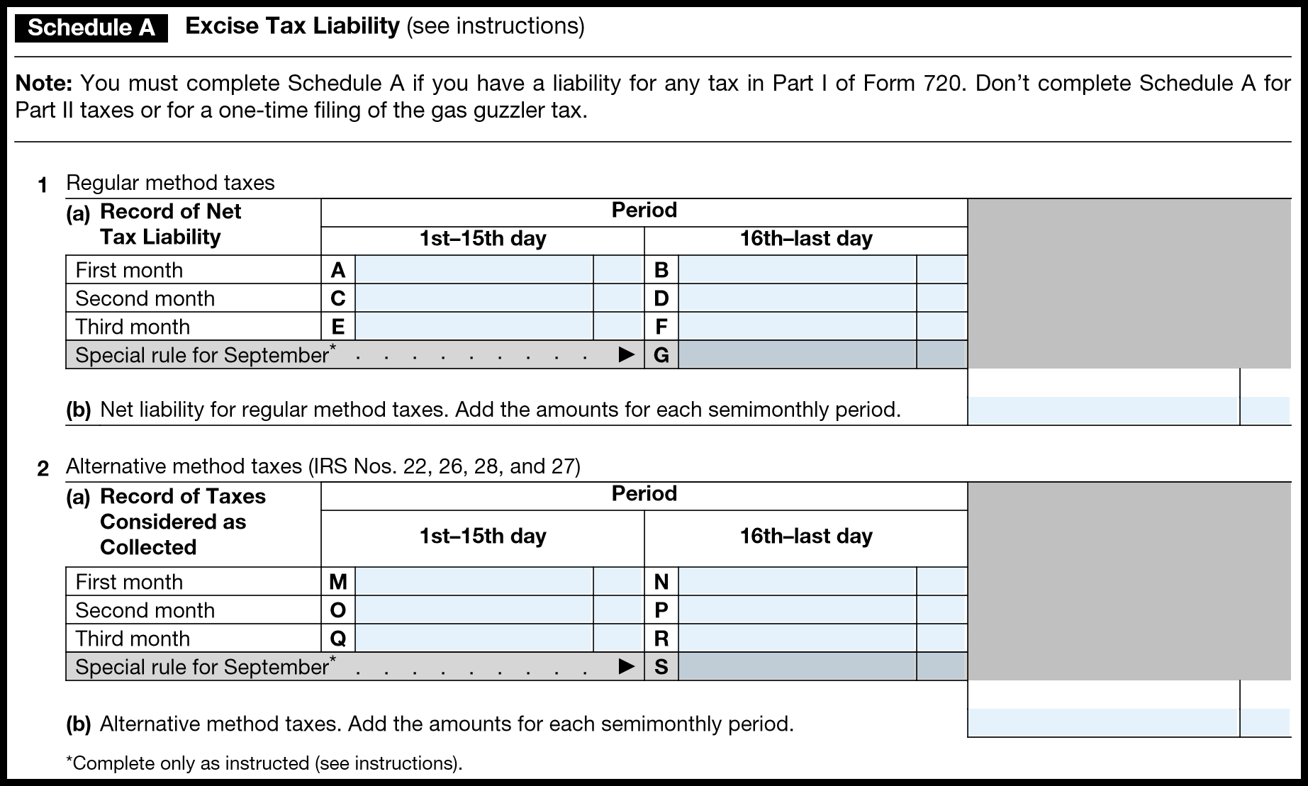 how to complete irs form 720 quarterly federal excise tax return