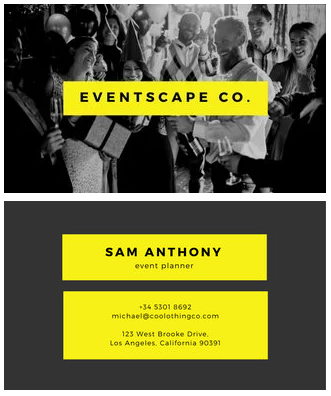 Immersive Design - event planner business cards