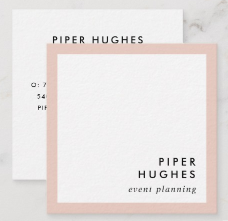 Minimalist Square Business Card Design - event planner business cards