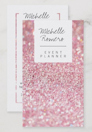 Glitzy Elegant Business Card - event planner business cards