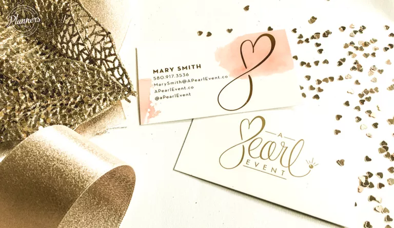 Watercolor and Gold Foil - event planner business cards