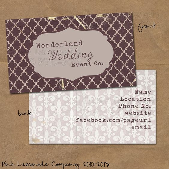 Vintage Feel - event planner business cards