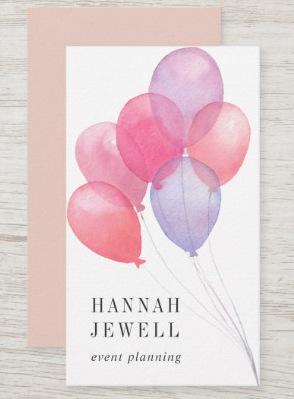 Watercolor Balloons Design - event planner business cards
