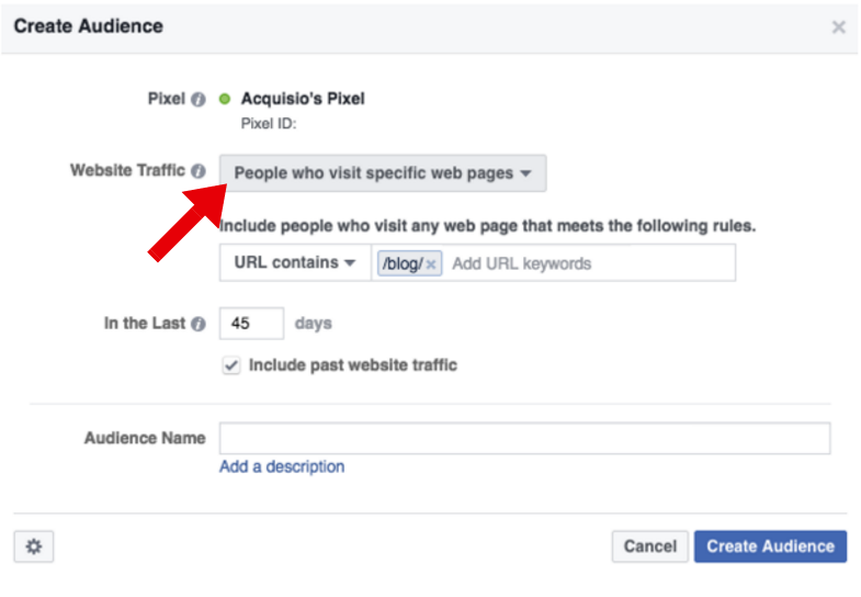 Website Traffic - facebook retargeting